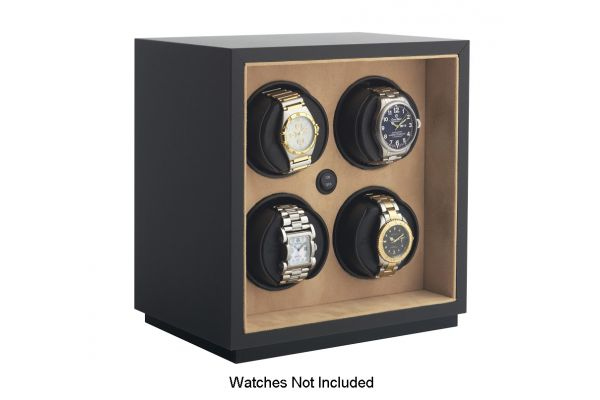 Large image of Orbita InSafe Four Black Leather Watch Winder - W21500