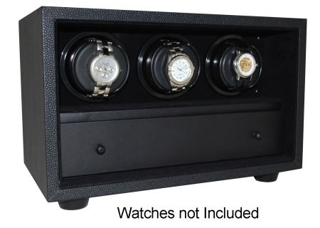Orbita InSafe Three Black Leather Rotorwind Watch Winder  - W21507