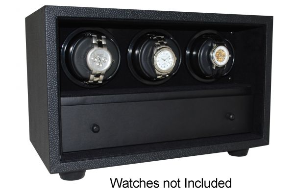 Large image of Orbita InSafe Three Black Leather Rotorwind Watch Winder - W21507