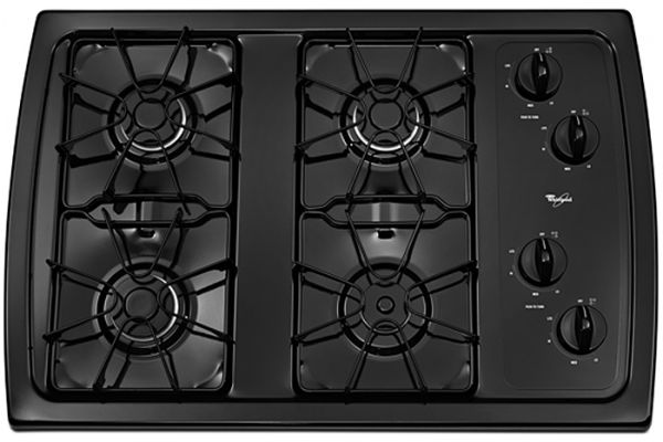 "Large image of Whirlpool 30"" Black Gas Cooktop - W3CG3014XB"