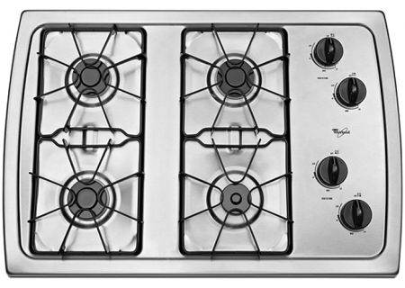"""Whirlpool 30"""" Stainless Steel Gas Cooktop - W3CG3014XS"""