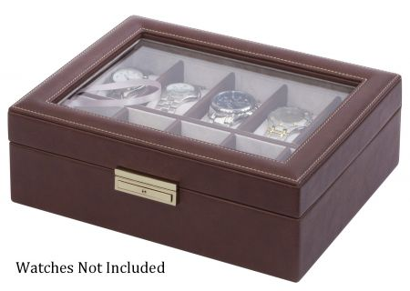 Orbita Roma Ten Chocolate Leather Display Case Storage Box - W93009