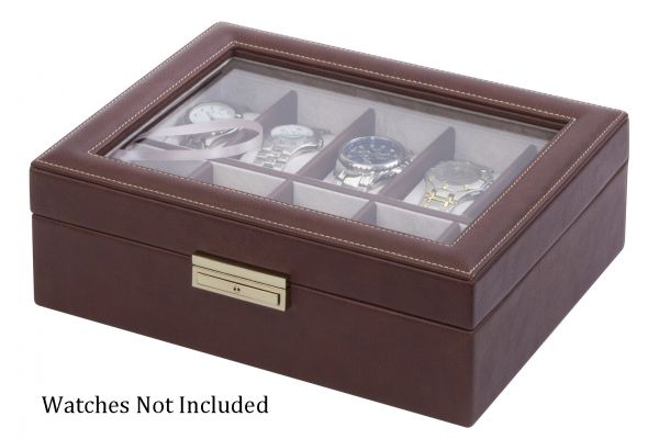 Orbita Roma Ten Chocolate Leather Display Case Storage Box - W93009
