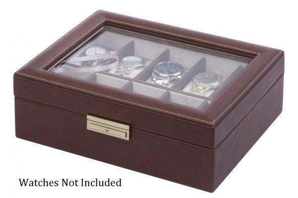 Large image of Orbita Roma Ten Chocolate Leather Display Case Storage Box - W93009