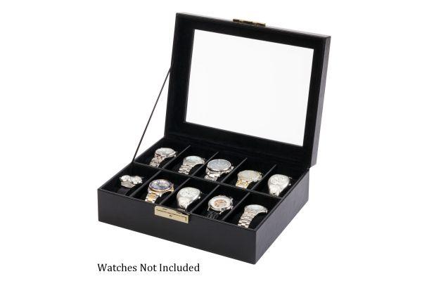 Large image of Orbita Roma Ten Black Leather Display Case Storage Box - W93011