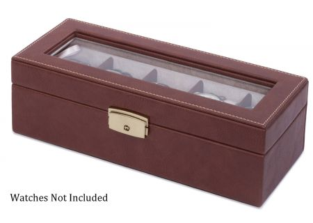 Orbita Roma Five Chocolate Leather Display Case Storage Box - W93012