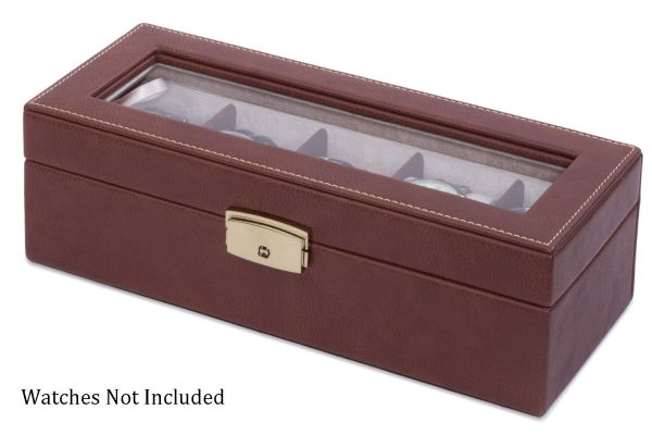 Large image of Orbita Roma Five Chocolate Leather Display Case Storage Box - W93012