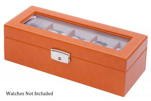 Large image of Orbita Roma Five Saddle Leather Display Case Storage Box - W93013