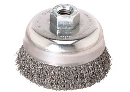 "Bosch Tools 6"" Cup Brush 5/8"" X 11"" Arbor Carbon Steel Crimped Wire  - WB526"