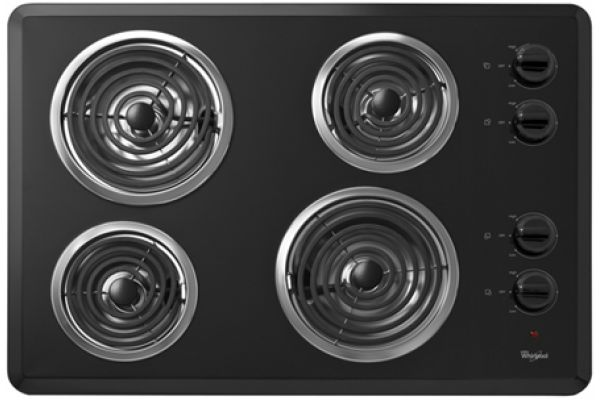 """Whirlpool 30"""" Black Electric Cooktop - WCC31430AB"""