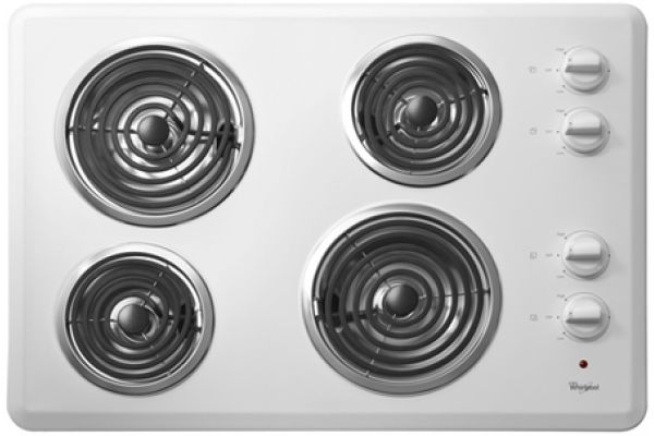 """Large image of Whirlpool 30"""" White Electric Cooktop - WCC31430AW"""