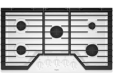 "Whirlpool 36"" White Gas Cooktop - WCG55US6HW"