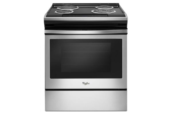 Large image of Whirlpool 4.8 Cu. Ft. Black-On-Stainless Steel Slide-In Electric Range - WEC310S0FS