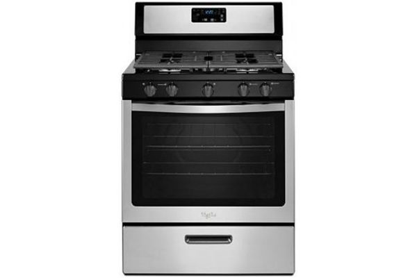 Large image of Whirlpool 5.1 Cu. Ft. Black-On-Stainless Freestanding 5-Burner Gas Stove - WFG505M0BS