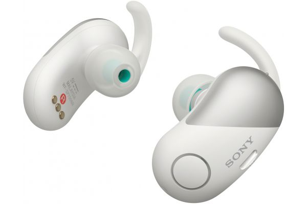 Sony White Wireless Noise-Canceling Headphones For Sports - WF-SP700N/W