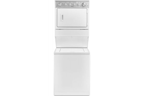 """Large image of Whirlpool 27"""" Stacked White Washer And Gas Dryer - WGT4027EW"""