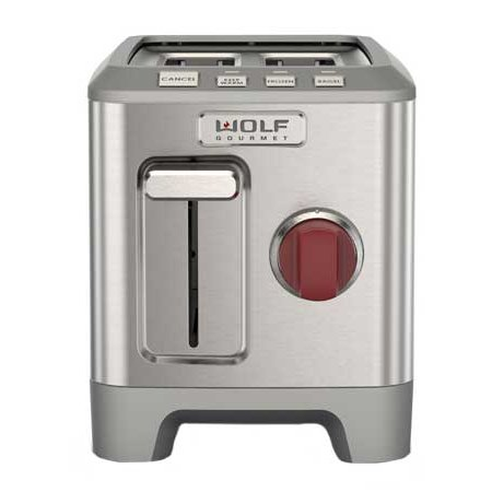 Wolf gourmet 2 slice red knob toaster wgtr102s for Wolf toaster oven