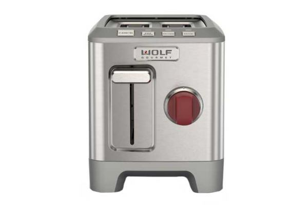 Large image of Wolf Gourmet 2 Slice Stainless Steel Red Knob Toaster - WGTR102S