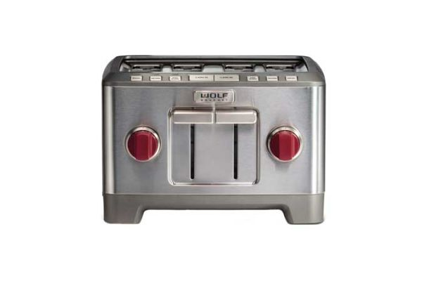 Large image of Wolf Gourmet 4 Slice Stainless Steel Red Knob Toaster - WGTR104S