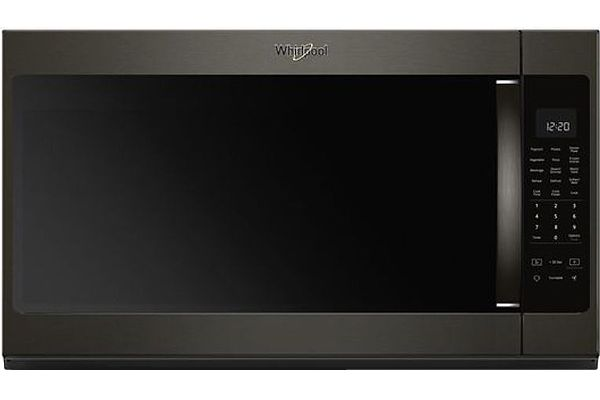 Large image of Whirlpool Print Resist Black Stainless Steel Over-The-Range Microwave Hood Combination - WMH53521HV
