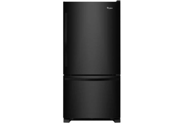 "Large image of Whirlpool 33"" Black Bottom Freezer Refrigerator With SpillGuard Glass Shelves - WRB322DMBB"