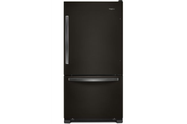 "Large image of Whirlpool 33"" Fingerprint Resistant Black Stainless Bottom Freezer Refrigerator With SpillGuard Glass Shelves - WRB322DMHV"