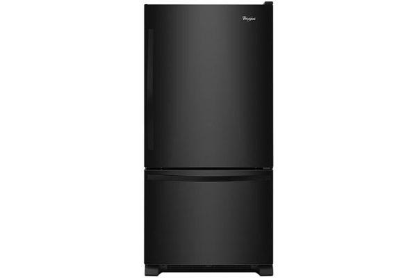 "Large image of Whirlpool 30"" Black Bottom Freezer Refrigerator With SpillGuard Glass Shelves - WRB329DMBB"