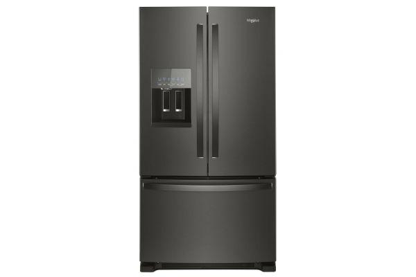 "Large image of Whirlpool 36"" Fingerprint Resistant Black Stainless Steel French Door Refrigerator - WRF555SDHV"