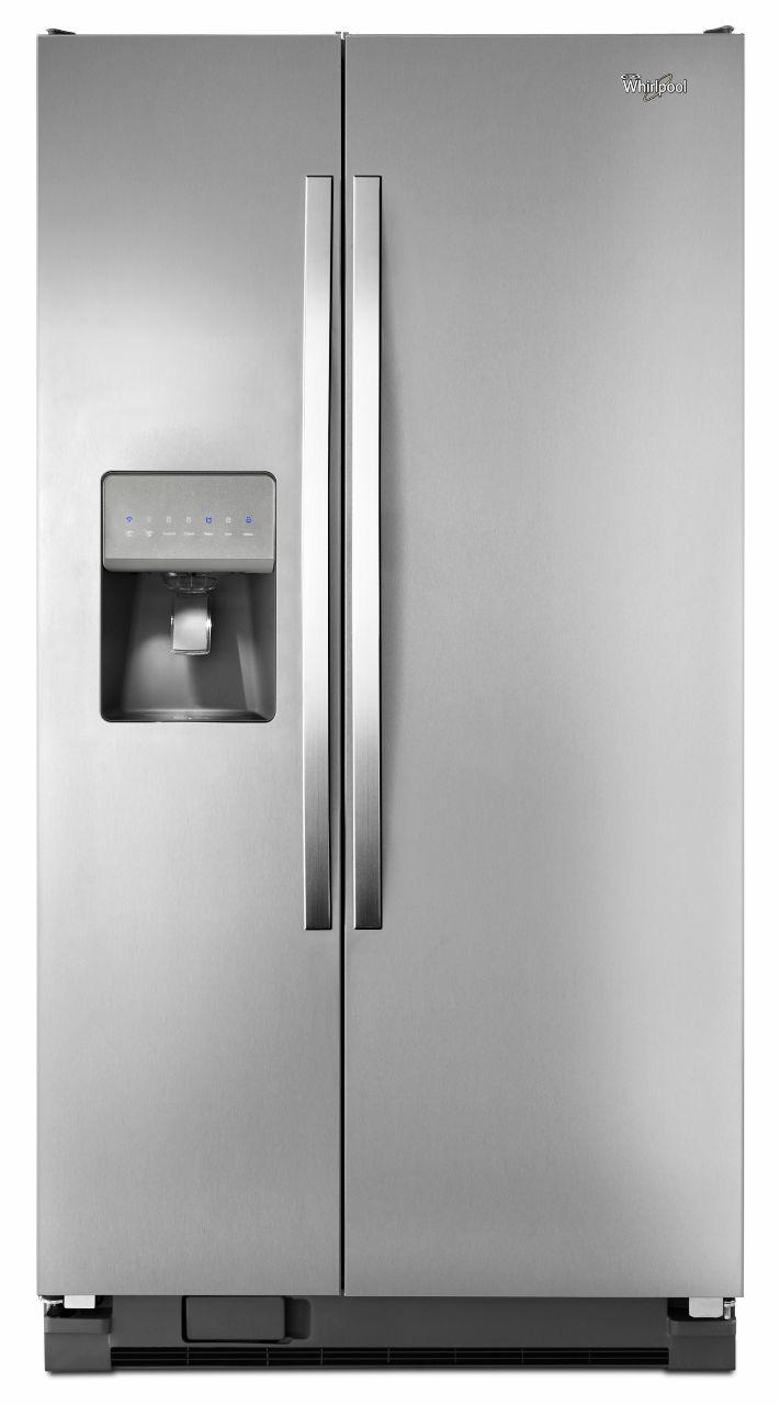 Top Ten Side By Side Refrigerators Whirlpool 254 Cu Ft Stainless Refrigerator Wrs325fdam
