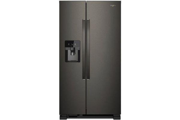 "Large image of Whirlpool 36"" Fingerprint Resistant Black Stainless Steel Side-By-Side Refrigerator - WRS325SDHV"