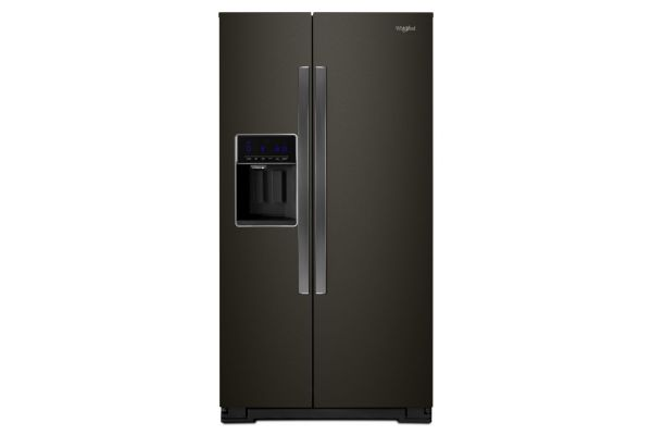 "Whirlpool 36"" Black Stainless Steel Counter Depth Side-By-Side Refrigerator - WRS571CIHV"