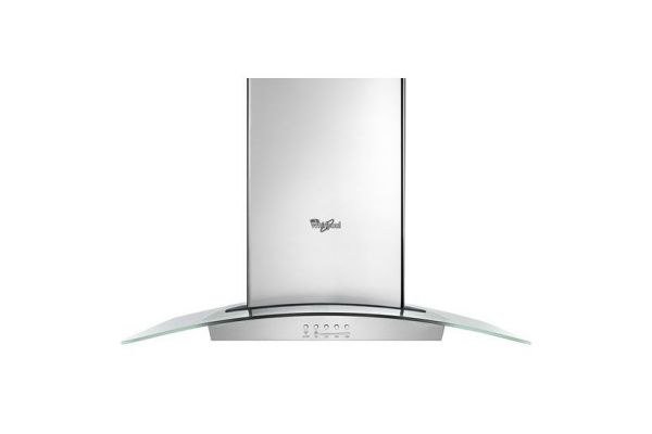 """Large image of Whirlpool 36"""" Stainless Steel Convertible Glass Range Wall Hood - WVW75UC6DS"""