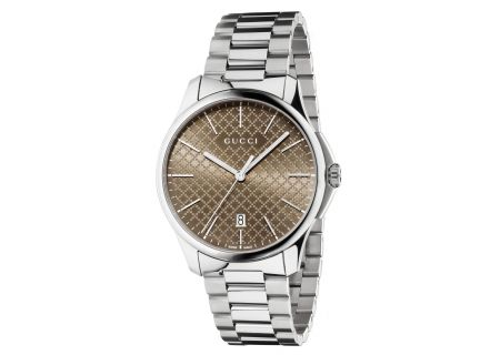 Gucci G-Timeless Brown Diamante Stainless Steel Mens Watch - YA126317
