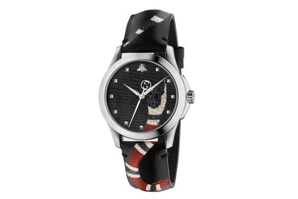 Gucci Le Marche des Merveilles Black Leather Strap Ladies Watch - YA1264007