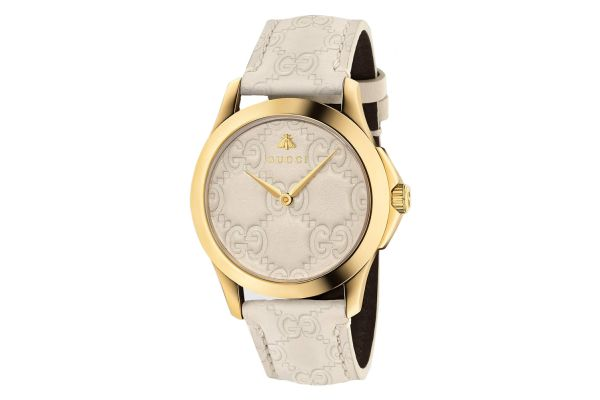 Gucci G-Timeless Yellow Gold Tone White Leather Strap Ladies Watch - YA1264033