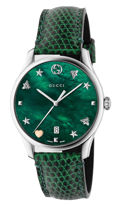 0c1eb5f3bc1 Gucci G-Timeless Green Leather Strap Ladies Watch - YA1264042