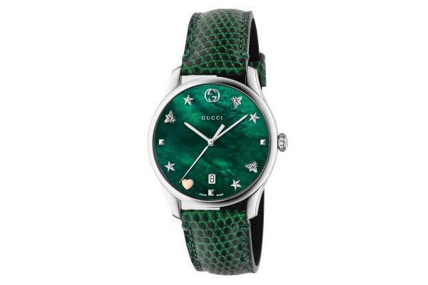 Gucci G-Timeless Green Leather Strap Ladies Watch - YA1264042