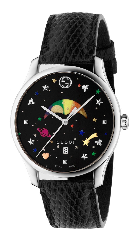 e8985b6677a Gucci G-Timeless Moonphase Black Lizard Leather Strap Ladies Watch -  YA1264045