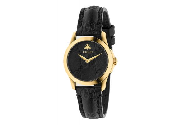 Gucci G-Timeless Yellow Gold Tone Black Leather Strap Ladies Watch - YA126581