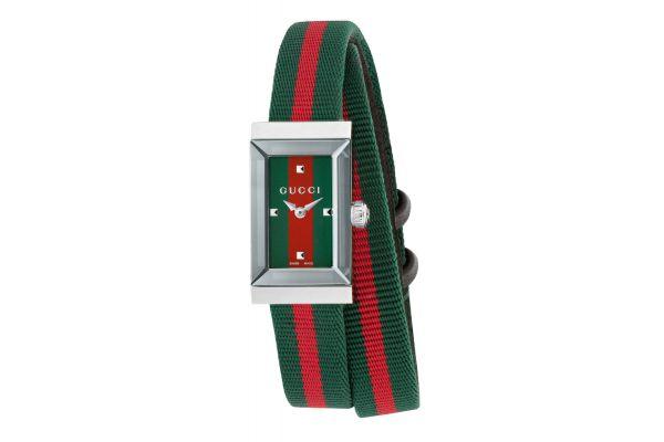 Gucci G-Frame Green Red Web Strap Ladies Watch - YA147503