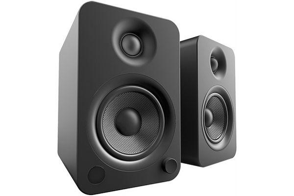 Large image of Kanto YU4 Powered Matte Black Bookshelf Speakers (Pair) - YU4MB