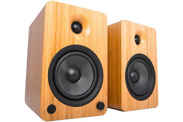 Large image of Kanto YU6 Powered Bamboo Bookshelf Speakers (Pair) - YU6BAMBOO