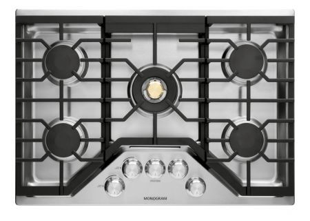 "Monogram 30"" Stainless Steel Deep-Recessed Natural Gas Cooktop - ZGU30RSLSS"
