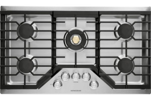 "Large image of Monogram 36"" Stainless Steel Deep-Recessed Natural Gas Cooktop - ZGU36RSLSS"