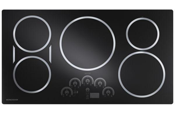 "Large image of Monogram 36"" Black Electric Induction Cooktop  - ZHU36RDJBB"