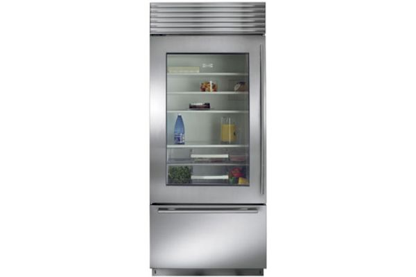 """Large image of Sub-Zero 36"""" Stainless Steel Left-Hinge Classic Over-And-Under Refrigerator/Freezer With Glass Door And Tubular Handles - BI-36UG/S/TH-LH"""