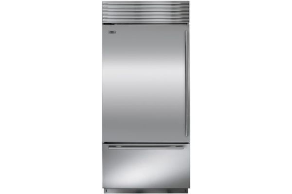 """Large image of Sub-Zero 36"""" Stainless Steel Left-Hinge Classic Over-And-Under Refrigerator/Freezer With Tubular Handles - BI-36U/S/TH-LH"""