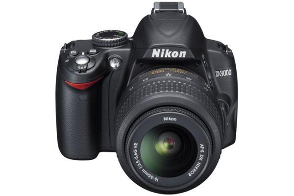 Large image of Nikon D3000 Black 10.2 Megapixels Digital SLR Camera - 25462