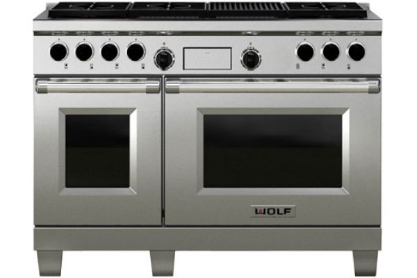 """Wolf 48"""" Dual Fuel Double Oven Range - Stainless Steel Finish - DF486C"""