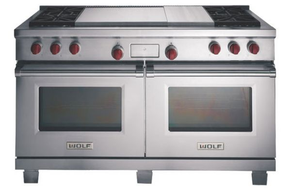 "Wolf 60"" Dual Fuel Double Oven Range - Stainless Steel Finish - DF604GF"